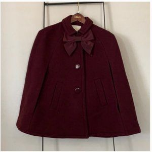 kate spade capelet cape burgundy coat jacket small